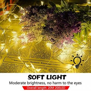 LED Lichterkette, 20m 200LED Lichterketten Lichter Lichterschlauch, wasserdicht 8 Modi Fernbedienung Außen Innen für Weihnachtsbeleuchtung Festliche Hochzeit Schlafzimmer Dekorationen (clear1) - 3