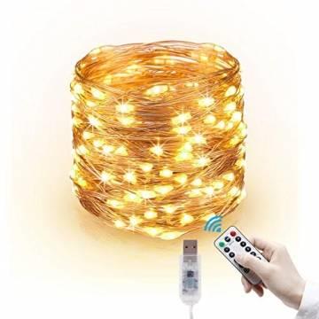 LED Lichterkette, 20m 200LED Lichterketten Lichter Lichterschlauch, wasserdicht 8 Modi Fernbedienung Außen Innen für Weihnachtsbeleuchtung Festliche Hochzeit Schlafzimmer Dekorationen (clear1) - 1