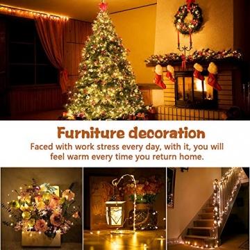 LED Lichterkette, 20m 200LED Lichterketten Lichter Lichterschlauch, wasserdicht 8 Modi Fernbedienung Außen Innen für Weihnachtsbeleuchtung Festliche Hochzeit Schlafzimmer Dekorationen (clear1) - 7