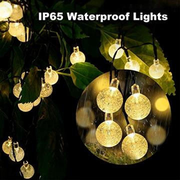 LED Lichterkette Außen Solar OMERIL Lichterkette mit 50er LED Kristallkugeln 8 Meter USB Lichterkette Innen für Garten, Bäume, Schlafzimmer, Kinderzimmer, Hochzeiten, Partys usw. - 3