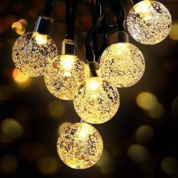 LED Lichterkette Außen Solar OMERIL Lichterkette mit 50er LED Kristallkugeln 8 Meter USB Lichterkette Innen für Garten, Bäume, Schlafzimmer, Kinderzimmer, Hochzeiten, Partys usw. - 1