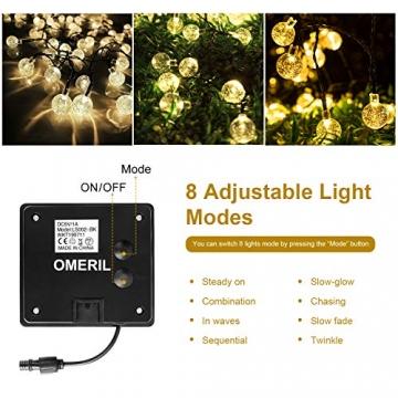 LED Lichterkette Außen Solar OMERIL Lichterkette mit 50er LED Kristallkugeln 8 Meter USB Lichterkette Innen für Garten, Bäume, Schlafzimmer, Kinderzimmer, Hochzeiten, Partys usw. - 5