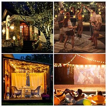 LED Lichterkette Außen Solar OMERIL Lichterkette mit 50er LED Kristallkugeln 8 Meter USB Lichterkette Innen für Garten, Bäume, Schlafzimmer, Kinderzimmer, Hochzeiten, Partys usw. - 6