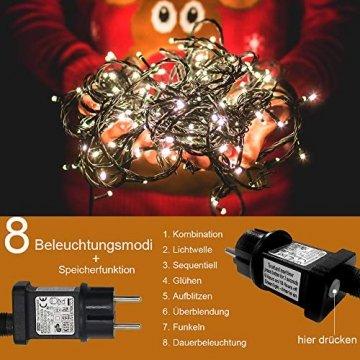 LED Lichterkette für Innen und Außen, Größe: 200 250 500LEDs, Warmweiß/Kaltweiß Weihnachtsbeleuchtung, Außenbeleuchtung IP44 Wasserdicht mit 8 Leuchtmodi für Garten, Terrasse, Baum, Hochzeit - 2