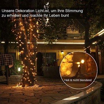 LED Lichterkette für Innen und Außen, Größe: 200 250 500LEDs, Warmweiß/Kaltweiß Weihnachtsbeleuchtung, Außenbeleuchtung IP44 Wasserdicht mit 8 Leuchtmodi für Garten, Terrasse, Baum, Hochzeit - 3