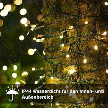 LED Lichterkette für Innen und Außen, Größe: 200 250 500LEDs, Warmweiß/Kaltweiß Weihnachtsbeleuchtung, Außenbeleuchtung IP44 Wasserdicht mit 8 Leuchtmodi für Garten, Terrasse, Baum, Hochzeit - 4