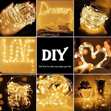 LED Lichterkette,Cshare 3m LED Draht Micro Lichterkette,Micro 30 LEDs Lichterkette AA Batterie betrieb für Party, Garten, Weihnachten, Halloween, Hochzeit, Beleuchtung, Zimmer (Warmweiß) - 2