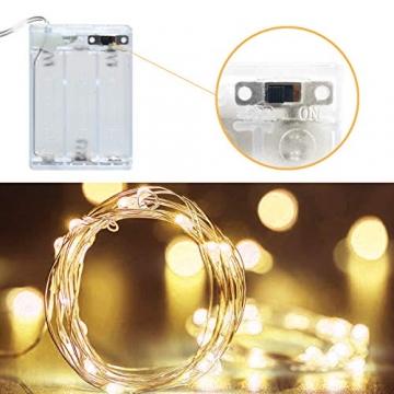 LED Lichterkette,Cshare 3m LED Draht Micro Lichterkette,Micro 30 LEDs Lichterkette AA Batterie betrieb für Party, Garten, Weihnachten, Halloween, Hochzeit, Beleuchtung, Zimmer (Warmweiß) - 3