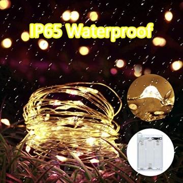 LED Lichterkette,Cshare 3m LED Draht Micro Lichterkette,Micro 30 LEDs Lichterkette AA Batterie betrieb für Party, Garten, Weihnachten, Halloween, Hochzeit, Beleuchtung, Zimmer (Warmweiß) - 4