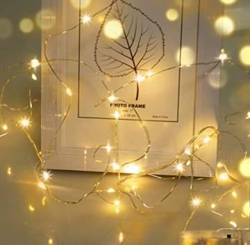 LED Lichterkette,Cshare 3m LED Draht Micro Lichterkette,Micro 30 LEDs Lichterkette AA Batterie betrieb für Party, Garten, Weihnachten, Halloween, Hochzeit, Beleuchtung, Zimmer (Warmweiß) - 1