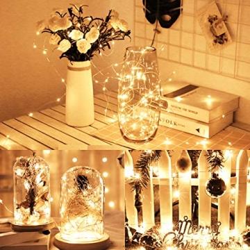 LED Lichterkette,Cshare 3m LED Draht Micro Lichterkette,Micro 30 LEDs Lichterkette AA Batterie betrieb für Party, Garten, Weihnachten, Halloween, Hochzeit, Beleuchtung, Zimmer (Warmweiß) - 7