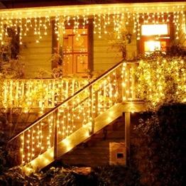 LED Lichtervorhang, LED Lichterkette, Eisregen/Eiszapfen Lichterkette, LED String Licht, Lichterkettenvorhang, Weihnachtsbeleuchtung, Weihnachtsdeko Christmas INNEN und AUSSEN, Warmweiß - 1
