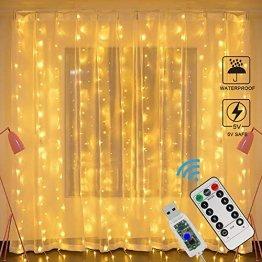 LED Lichtervorhang, Zorara Lichterkette Vorhang USB 3m x 3m 300 LEDs, Lichterkettenvorhang Wasserfall Warmweiß Innen, LED Vorhang 8 Modi IP65 Wasserfest für Weihnachten, Außen, Party, Hochzeit Deko - 1
