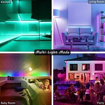 LED Strip, L8star LED Streifen Farbwechsel Led Lichterkette 5M RGB Flexible LED Bänder Strips mit Bluetooth Kontroller Sync zur Musik, Anwendung für Schlafzimmer (5M) - 2