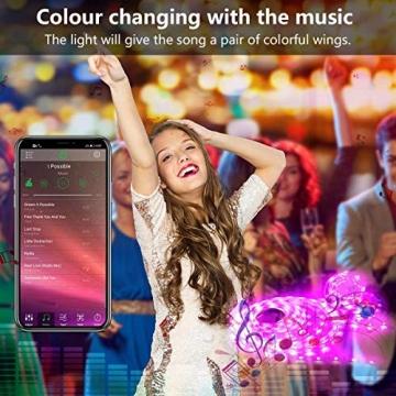 LED Strip, L8star LED Streifen Farbwechsel Led Lichterkette 5M RGB Flexible LED Bänder Strips mit Bluetooth Kontroller Sync zur Musik, Anwendung für Schlafzimmer (5M) - 3