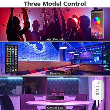 LED Strip, L8star LED Streifen Farbwechsel Led Lichterkette 5M RGB Flexible LED Bänder Strips mit Bluetooth Kontroller Sync zur Musik, Anwendung für Schlafzimmer (5M) - 4