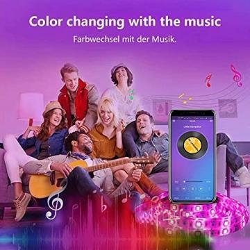 LED Strip, L8star LED Streifen Farbwechsel LED Strip Lichtband RGB Flexible LED Bänder Strips mit Bluetooth Kontroller Sync zur Musik, Anwendung für Schlafzimmer, Party und Feriendekoration - 3