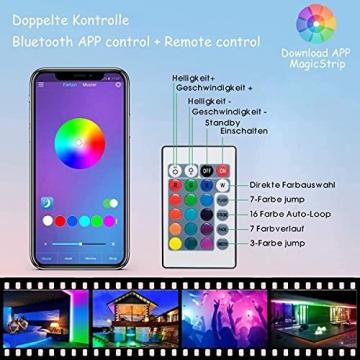 LED Strip, L8star LED Streifen Farbwechsel LED Strip Lichtband RGB Flexible LED Bänder Strips mit Bluetooth Kontroller Sync zur Musik, Anwendung für Schlafzimmer, Party und Feriendekoration - 4