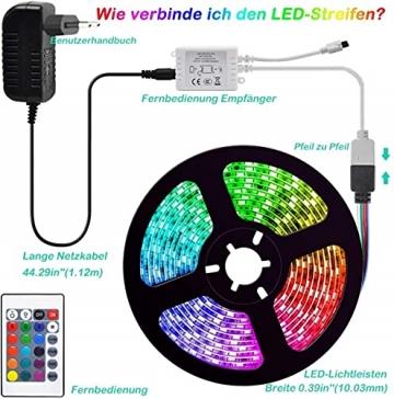 LED Strip, L8star LED Streifen Farbwechsel LED Strip Lichtband RGB Flexible LED Bänder Strips mit Bluetooth Kontroller Sync zur Musik, Anwendung für Schlafzimmer, Party und Feriendekoration - 6