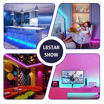 LED Strip, L8star LED Streifen Farbwechsel LED Strip Lichtband RGB Flexible LED Bänder Strips mit Bluetooth Kontroller Sync zur Musik, Anwendung für Schlafzimmer, Party und Feriendekoration - 7