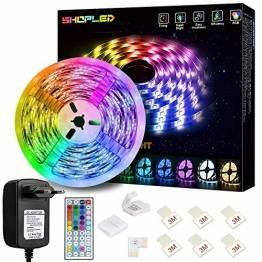 LED Strip Lichtband 5M, SHOPLED RGB SMD 5050 LED Streifen Selbstklebend, Farbwechsel Led lichterkette mit Fernbedienung LED Band Leiste für die Beleuchtung von Haus, Party, Küche - 1
