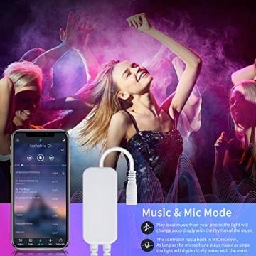 LED Strip,Bonve Pet 12M RGB LED Streifen LED Lichterkette mit Fernbedienung,Bluetooth APP Steuerbar,Sync zur Musik,Farbwechsel 5050 LED Band Klebeband Selbstklebende für Schlafzimmer,TV,Schrankdek - 2