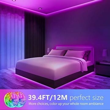 LED Strip,Bonve Pet 12M RGB LED Streifen LED Lichterkette mit Fernbedienung,Bluetooth APP Steuerbar,Sync zur Musik,Farbwechsel 5050 LED Band Klebeband Selbstklebende für Schlafzimmer,TV,Schrankdek - 3
