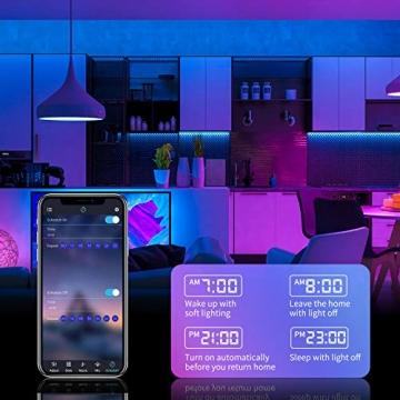 LED Strip,Bonve Pet 12M RGB LED Streifen LED Lichterkette mit Fernbedienung,Bluetooth APP Steuerbar,Sync zur Musik,Farbwechsel 5050 LED Band Klebeband Selbstklebende für Schlafzimmer,TV,Schrankdek - 4
