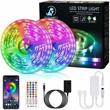 LED Strip,Bonve Pet 12M RGB LED Streifen LED Lichterkette mit Fernbedienung,Bluetooth APP Steuerbar,Sync zur Musik,Farbwechsel 5050 LED Band Klebeband Selbstklebende für Schlafzimmer,TV,Schrankdek - 1