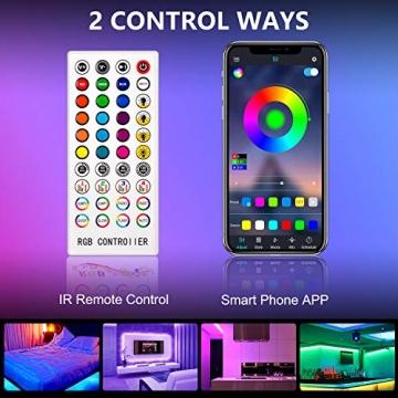 LED Strip,Bonve Pet 12M RGB LED Streifen LED Lichterkette mit Fernbedienung,Bluetooth APP Steuerbar,Sync zur Musik,Farbwechsel 5050 LED Band Klebeband Selbstklebende für Schlafzimmer,TV,Schrankdek - 5