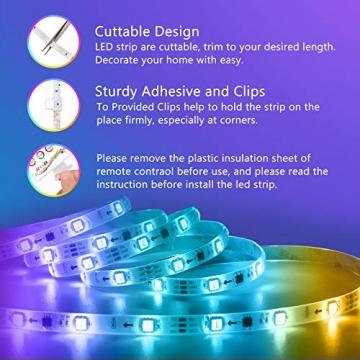 LED Strip,Bonve Pet 12M RGB LED Streifen LED Lichterkette mit Fernbedienung,Bluetooth APP Steuerbar,Sync zur Musik,Farbwechsel 5050 LED Band Klebeband Selbstklebende für Schlafzimmer,TV,Schrankdek - 6