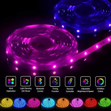 LED Strip,Bonve Pet 12M RGB LED Streifen LED Lichterkette mit Fernbedienung,Bluetooth APP Steuerbar,Sync zur Musik,Farbwechsel 5050 LED Band Klebeband Selbstklebende für Schlafzimmer,TV,Schrankdek - 7