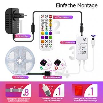 LED Strips 10M, RGB Smart LED Streifen Farbwechsel LED Band, Musik Sync LED Lichterkette mit Fernbedienung und App-steuerung, für Leiste, Zuhause, Schlafzimmer, Küche, Party - 2