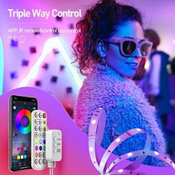LED Strips 10M, RGB Smart LED Streifen Farbwechsel LED Band, Musik Sync LED Lichterkette mit Fernbedienung und App-steuerung, für Leiste, Zuhause, Schlafzimmer, Küche, Party - 3