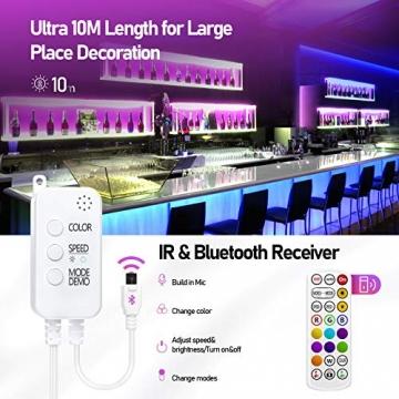 LED Strips 10M, RGB Smart LED Streifen Farbwechsel LED Band, Musik Sync LED Lichterkette mit Fernbedienung und App-steuerung, für Leiste, Zuhause, Schlafzimmer, Küche, Party - 5