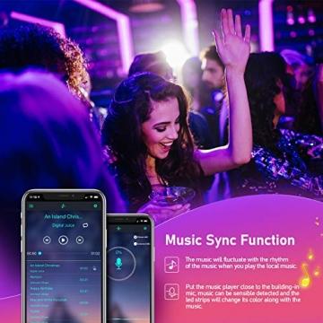 LED Strips 10M, RGB Smart LED Streifen Farbwechsel LED Band, Musik Sync LED Lichterkette mit Fernbedienung und App-steuerung, für Leiste, Zuhause, Schlafzimmer, Küche, Party - 6