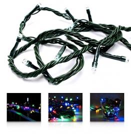 LED Universum Lichterkette mit 100 bunten LEDs (rot, grün, blau, gelb) und 8 Stimmungsmodi für innen und außen, 10 Meter, IP44, Weihnachtszeit, Hochzeiten oder Gartenfeiern - 1