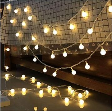 Leds Globe Lichterkette, Partybeleuchtung Außen,Warmweiße Kugel Lichterkette, Ideal Weihnachtsbeleuchtung für Innen, Zimmer,IP65 (Warm White, 3m/ 20 Lichter/Batteries) - 2