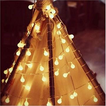 Leds Globe Lichterkette, Partybeleuchtung Außen,Warmweiße Kugel Lichterkette, Ideal Weihnachtsbeleuchtung für Innen, Zimmer,IP65 (Warm White, 3m/ 20 Lichter/Batteries) - 4
