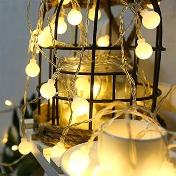 Leds Globe Lichterkette, Partybeleuchtung Außen,Warmweiße Kugel Lichterkette, Ideal Weihnachtsbeleuchtung für Innen, Zimmer,IP65 (Warm White, 3m/ 20 Lichter/Batteries) - 1