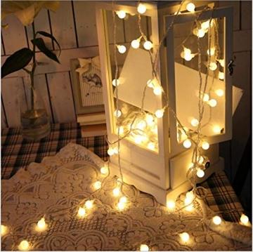Leds Globe Lichterkette, Partybeleuchtung Außen,Warmweiße Kugel Lichterkette, Ideal Weihnachtsbeleuchtung für Innen, Zimmer,IP65 (Warm White, 3m/ 20 Lichter/Batteries) - 5