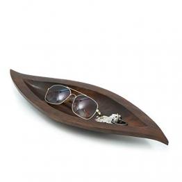 Leewadee Dekoschale Dekorative Holzschale, 43x15x4 cm, Mangoholz, braun - 1