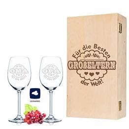 Leonardo Weingläser Oma ist die Beste & Opa ist der Beste im 2er Set - inkl. gravierter Vintage-Holzkiste - Geschenk für Oma & Opa - Geburtstag Großeltern - 1