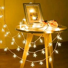 Lichterkette, 50 LED Stern Lichtervorhang batteriebetrieben, 5.5M Wasserdicht Dekorative Lichterkette mit 2 Modi Dimmbar für Außen Innen Weihnachtsdeko Kinderzimmer Schlafzimmer Party, Warmweiß - 1