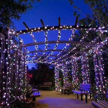 Lichterkette Außen, BIGHOUSE 100 LEDs 10M LED Lichterkette Strom, IP44 Wasserdichte für Schlafzimmer, Garten, Hochzeit, Terrasse, Innen Außen Dekoration - 2
