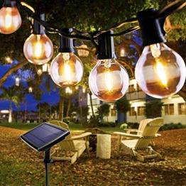 Lichterkette Außen, FOCHEA Lichterkette Glühbirnen 5.5m 10er LED Solar Lichterkette Außen Globe Birnen Lichterkette Garten 4 Modi für Patio Party Aussen Warmweiß - 1