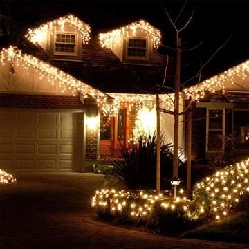 Lichterkette Eisregen Außen, 5M Weihnachtsbeleuchtung Lichtervorhang mit USB, 8 Modi und Timer Memory-Funktion und Dimmbar mit Fernbedienung, Deko Hochzeiten, Garten(Warmweiß) - 2