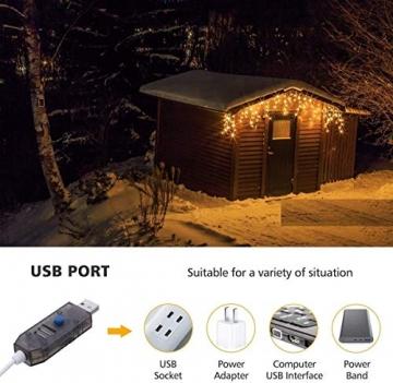 Lichterkette Eisregen Außen, 5M Weihnachtsbeleuchtung Lichtervorhang mit USB, 8 Modi und Timer Memory-Funktion und Dimmbar mit Fernbedienung, Deko Hochzeiten, Garten(Warmweiß) - 3