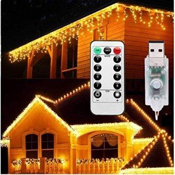 Lichterkette Eisregen Außen, 5M Weihnachtsbeleuchtung Lichtervorhang mit USB, 8 Modi und Timer Memory-Funktion und Dimmbar mit Fernbedienung, Deko Hochzeiten, Garten(Warmweiß) - 1