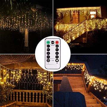 Lichterkette Eisregen Außen, 5M Weihnachtsbeleuchtung Lichtervorhang mit USB, 8 Modi und Timer Memory-Funktion und Dimmbar mit Fernbedienung, Deko Hochzeiten, Garten(Warmweiß) - 5